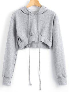 Drawstring Cropped High Low Hoodie - Gray S