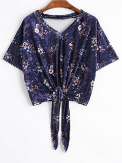 Bowknot Flower Velvet Cropped Top - Floral S
