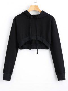 Drawstring Cropped High Low Hoodie - Black S