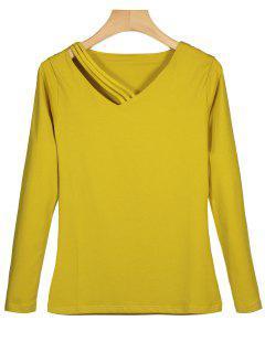 T-shirt Simple Col En V à Manches Longues - Moutarde  M