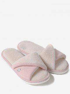 Faux Fur Warm Open Toe House Slippers - Pink Size(40-41)