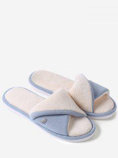 Faux Fur Warm Open Toe House Slippers - Blue Size(40-41)
