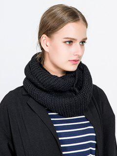 Plain Woolen Yarn Knit Infinite Scarf - Black