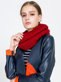 Plain Woolen Yarn Knit Infinite Scarf - Wine Red