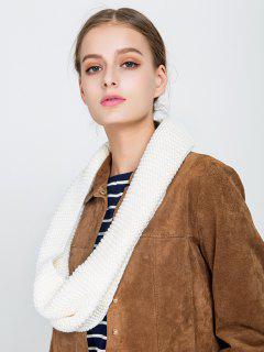 Plain Woolen Yarn Knit Infinite Scarf - Beige