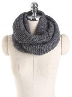 Plain Woolen Yarn Knit Infinite Scarf - Deep Gray