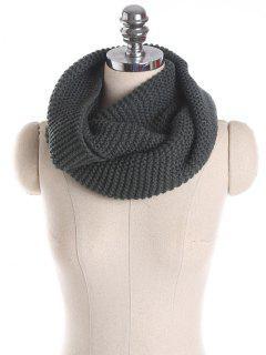 Plain Woolen Garn Knit Infinite Schal - Rauchgrau