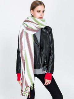Vertical Stripe Pattern Tassel Long Scarf - Green