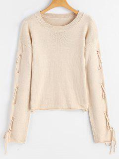 Lace Up Criss Cross Pullover Sweater - Apricot M