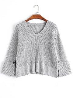 Curled Sleeve V Neck Sweater De Gran Tamaño - Gris