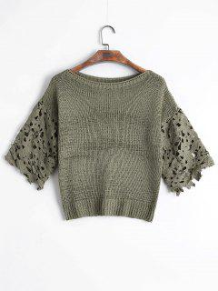 Sheer Lace Panel Pullover Sweater - Sage Green