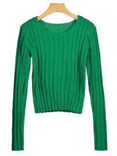 Round Neck Chunky Sweater - Green