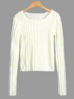 Round Neck Chunky Sweater - Off-white