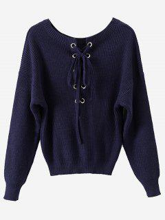 Fitting Lace Up Pullover Sweater - Purplish Blue