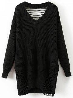 Oversized Destroyed V Neck Pullover Sweater - Black