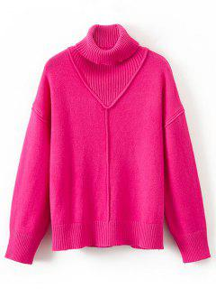 Ribbed Panel Turtleneck Pullover Sweater - Rose Red