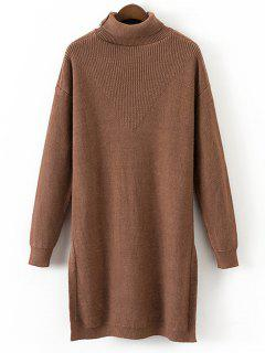 Asymmetrical Turtleneck Pullover Sweater - Brown