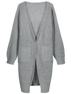 Side Slit Open Front Longline Cardigan - Gray