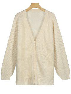 Snap Button Plunging Neck Cardigan - Apricot