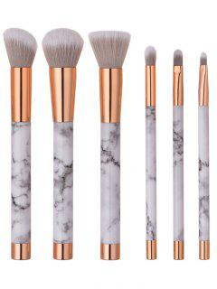 6 PCS Marble Pattern Makeup Brush Set - White