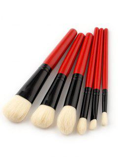 6 PCS Two Tones Makeup Brush Set - Red