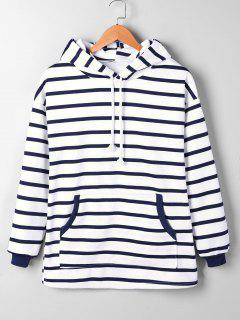 Kangaroo Pocket Striped Hoodie - Blue Stripe L