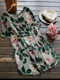 Casual Floral A-Line Dress - Green L