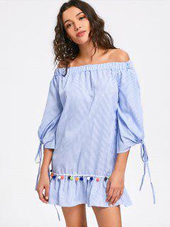 Mini-robe à Volants Rayés Et épaules Dénudées - Rayure S