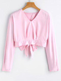 Cropped Bowknot Cut Out Top - Pink S
