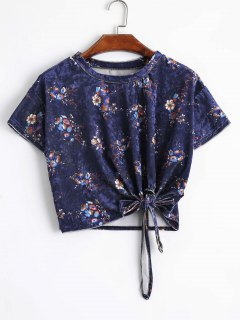 Bowknot Floral Velvet Cropped Top - Blumen S