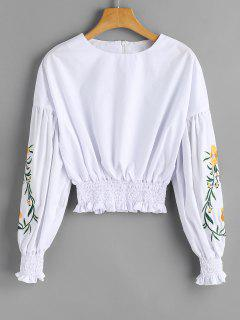 Smocked Cropped Floral Embroidered Blouse - White 2xl