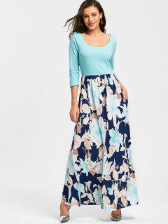 U Neck Floral Print Maxi Dress - Sky Blue L