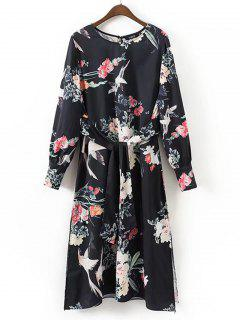 Belted Slit Floral Long Sleeve Dress - Floral M