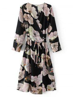 Long Sleeve Floral Wrap Midi Dress - Floral L