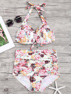 Blumen Geraffter Push Up Hoch Taillierter Bikini - Blumen S