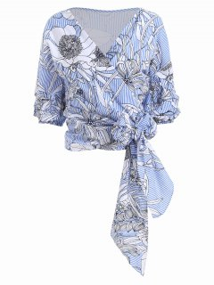 Floral Wrap Stripes Cropped Top - Light Blue Xl