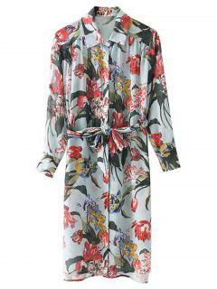 Belted Long Sleeve Floral Shirt Dress - Floral S