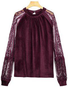 Cut Out Spitze Samtbluse - Magenta S