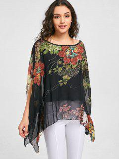 Open Sleeve Chiffon Floral Blouse - Black