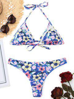 Mesh-Einsatz Winzigen Floral Bralette Bikini - Blau S