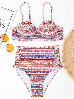Push-Up-gedruckten Hoch Taillierten Bikini - S