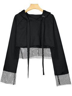 Fishnet Panel Drawstring Crop Hoodie - Black S