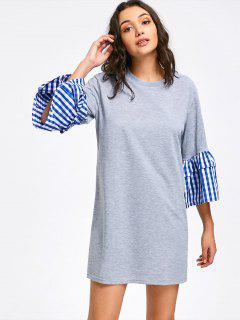 Casual Layered Striped Sleeve Mini Dress - Gray M