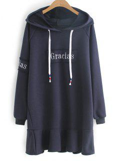 Flounces Letter Embroidered Casual Dress - Purplish Blue