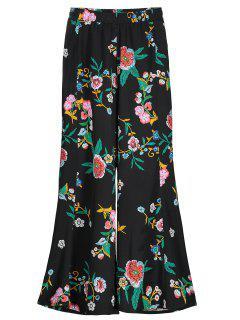 Floral Print Wide Leg Pants - Floral M
