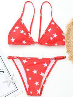 Hoch Geschnittener Pentagram Print Bikini - Rot S