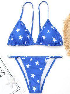 High Cut Pentagram Print Bikini - Blue M
