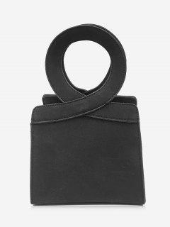 Criss Cross Faux Leather Handbag - Black