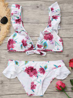 Plunging Neck Ruffles Floral Bathing Suit - White M