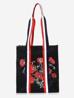 Striped Embroidery Flower Color Block Handbag - Black